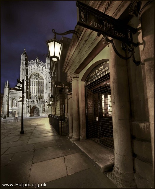 365-272 Bath, Pump Room and Abbey at Dusk, Somerset, UK
