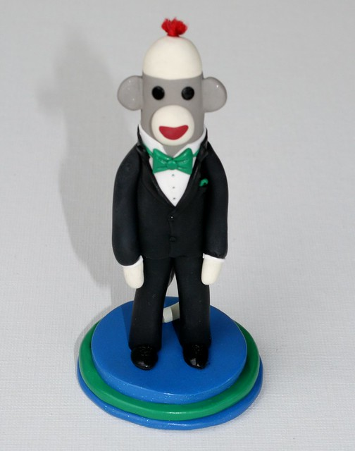 Groom in a Tux Sock Monkey Wedding Cake Topper