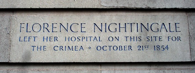 Florence Nightingale stone plaque - Florence Nightingale  left her hospital on this site for  the Crimea October 21st 1854