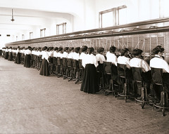 Telephone Switchboard Operators - a vintage circa 1914 photo (cropped)