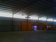 Inside warehouse looking towards the door