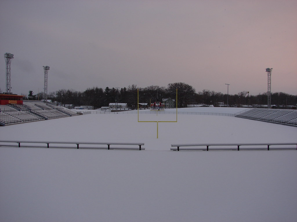 Snow covered stadium