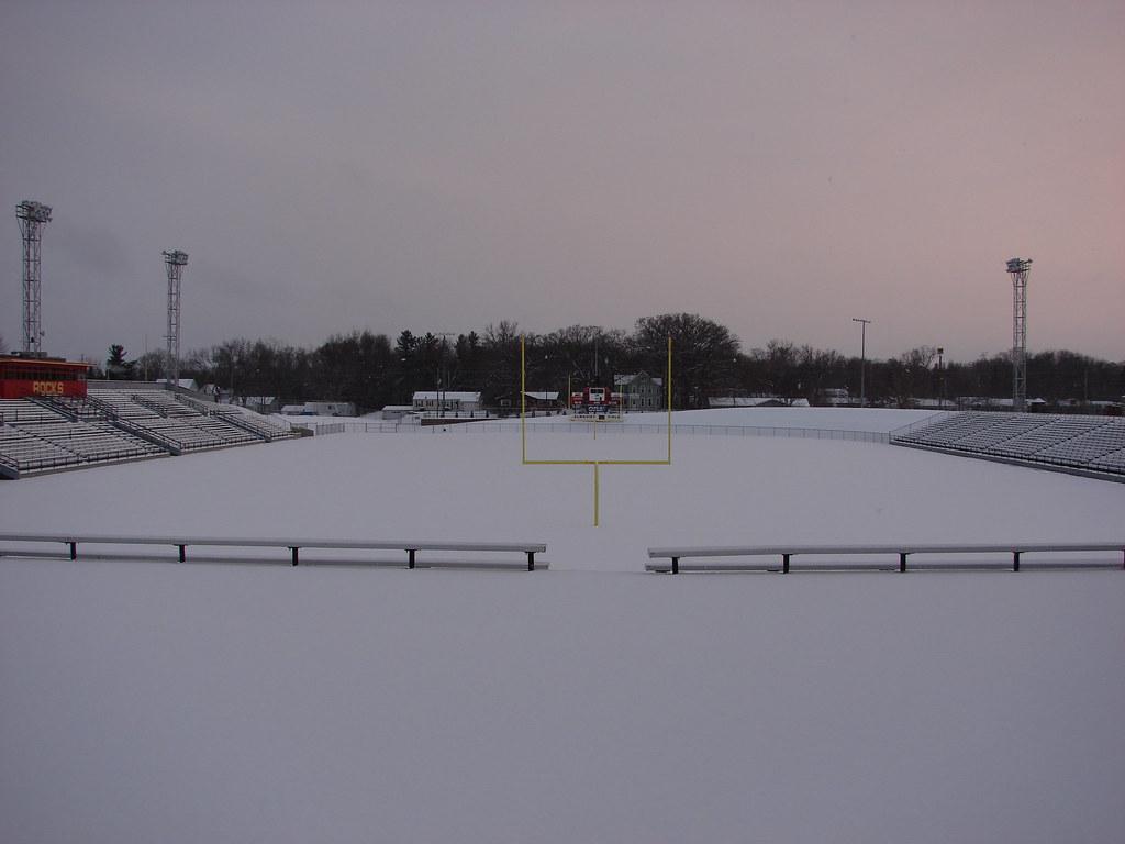 Snow covered stadium