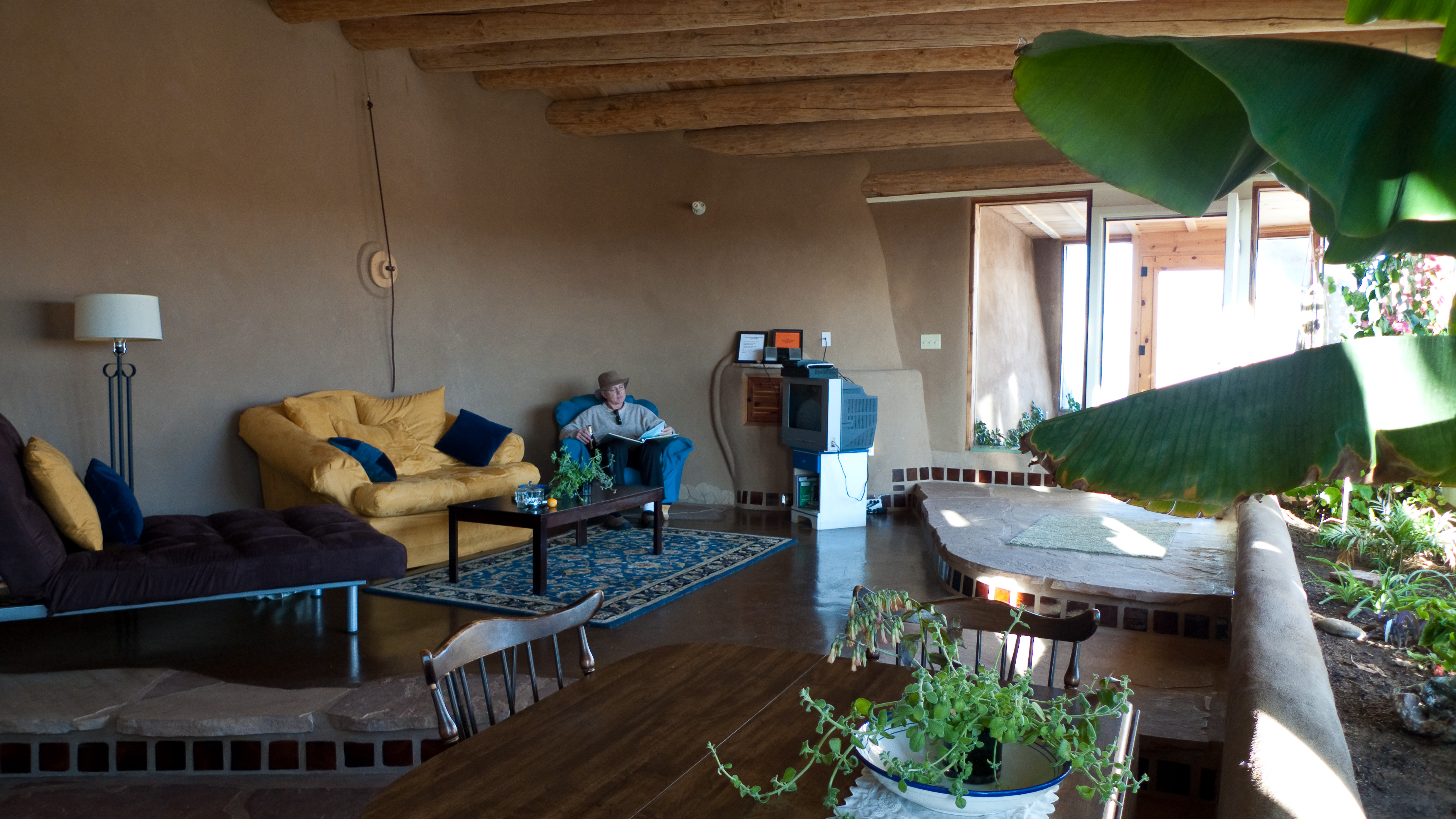 Humble Earthship Living Room With Lot Of Plants 3 776 X 2 124