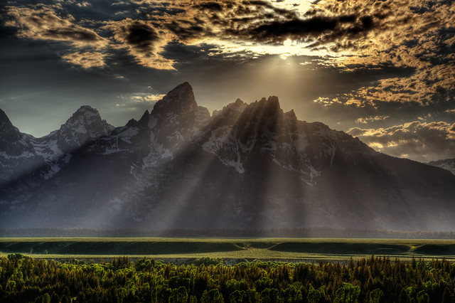 Sunburst over Grand Tetons