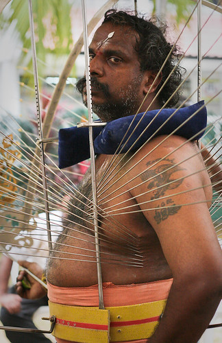 Gaze - Thaipusam Kavadi, Piercings in stomach, chest, and back.