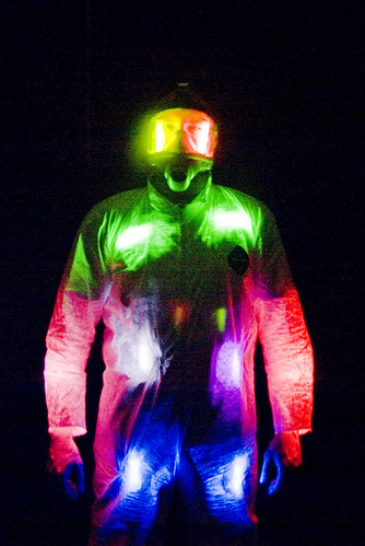 a gas mask, a tyvek suit, and some glow sticks
