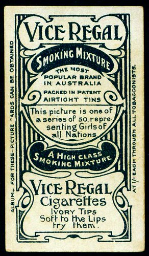 Cigarette Card Back - Vice Regal Cigarettes by cigcardpix