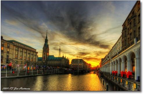 sunset sun canon eos sonnenuntergang jan cityhall hamburg sigma hh 1020mm rathaus sonne hartmann photoart hdr photomatix kleinealster 10exp 400d