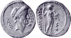 RRC 494/16 Denarius Julius Caesar Mars standing