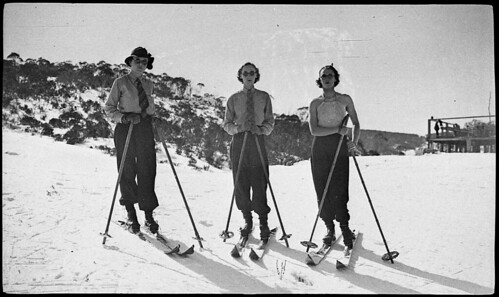 Skiing near Mount Kosciusko, c. 1926, by Albert James Perier
