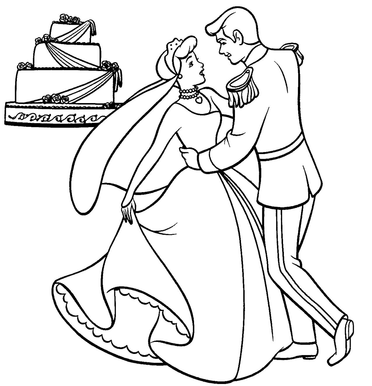 cinderella dancing coloring page