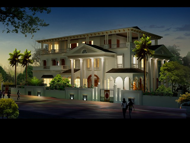 bungalow neight view_www.3dpower.in_3d modeling_3d rendering_india