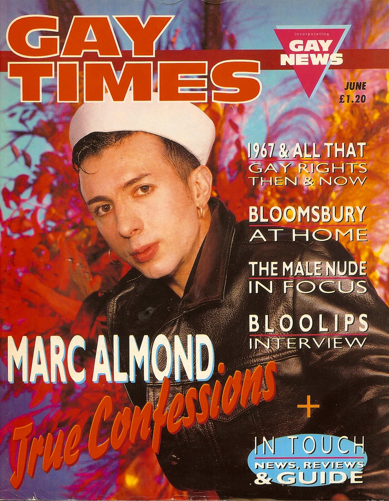 Marc Almond on the cover of Gay Times - 1987