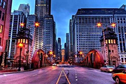 street bridge blue chicago skyline nikon downtown cityscape board sigma hour lasalle 1020mm trade hdr d3000