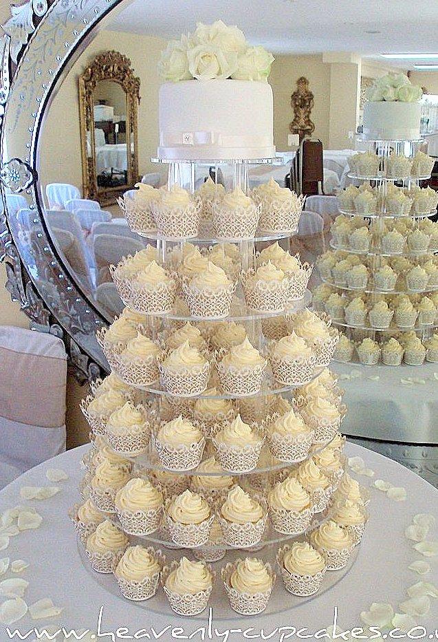 White Wedding Cupcakes-Filigree Cupcake Cases-Woodborough Hall ...