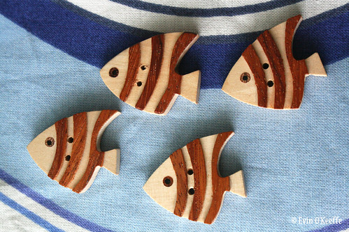 Wood Fish in Fabric Ocean