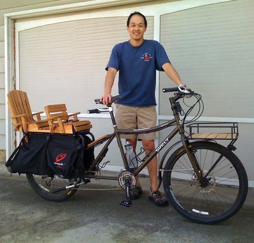 "The innovative Mr. M and his very customized 18"" Surly Big Dummy"