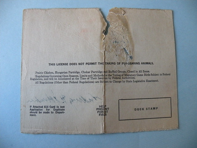 Backside of 1943 illinois hunting license flickr photo for Kansas lifetime fishing license