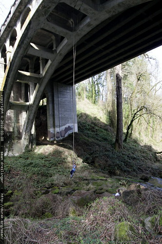 rope swing suspended beneath highway 43