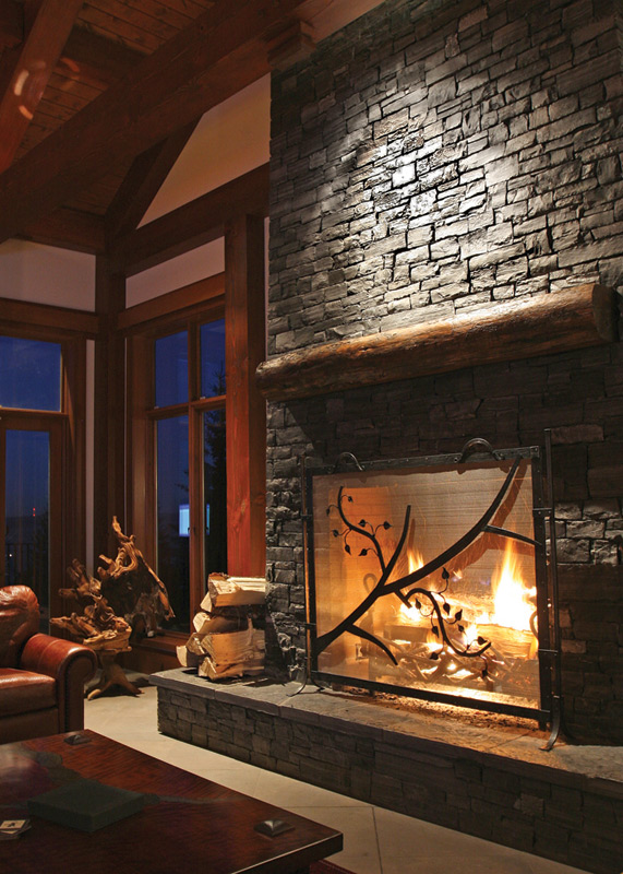 Red deer ranch timber frame home fireplace a photo on for Interior designs red deer