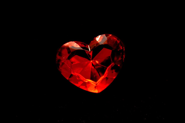 red heart on the black background | red heart whit glitter ...