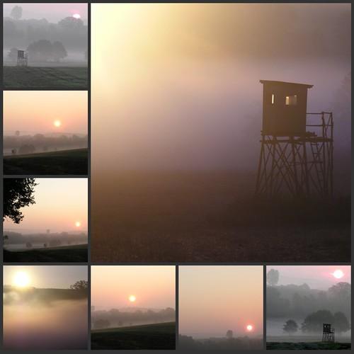 sun mist collage sunrise germany landscape village hunting thuringia perch raisedstand sonne sonnenstrahlen veilsdorf hochsitz jägerstand hunter´sstand hunterstand hunters´hide hunters´perch hunter´sperch hunters´ raisdestand