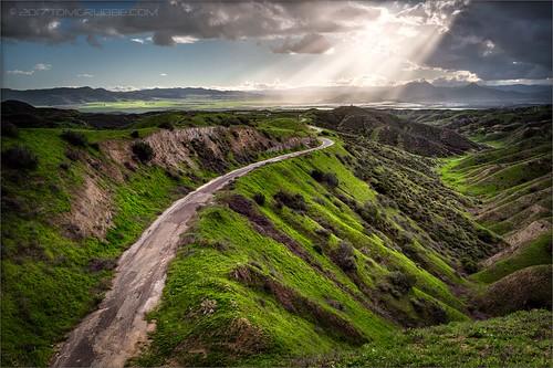 jackrabbittrail road hills green spring storm godbeams countryside california landscape