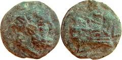 43/2a Luceria L Aes Grave Semis. Roman mint. Saturn; S / Prow / L. RBW 36g44