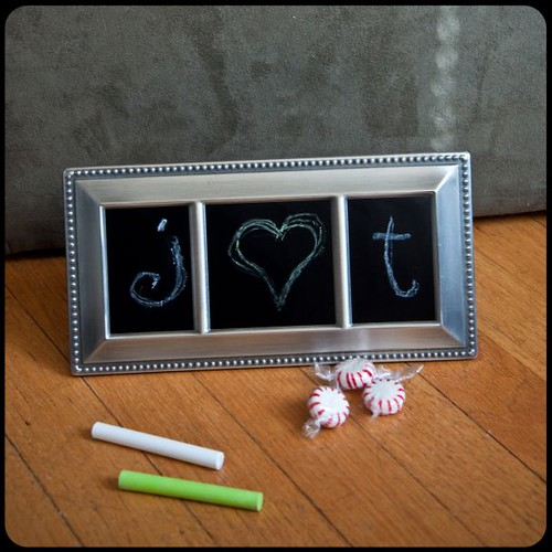 Make photo frames into chalk boards