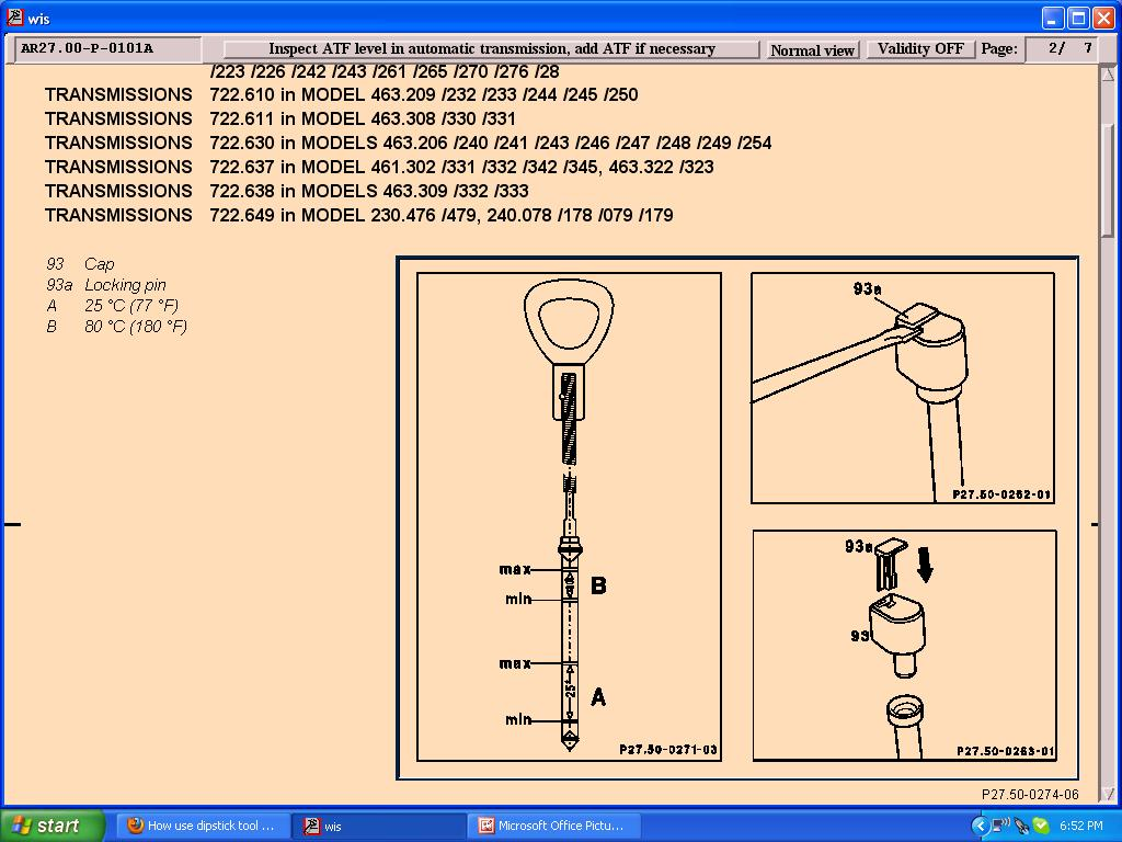 Mercedes benz forum how use dipstick tool on for Mercedes benz transmission fluid dipstick tool 722 6