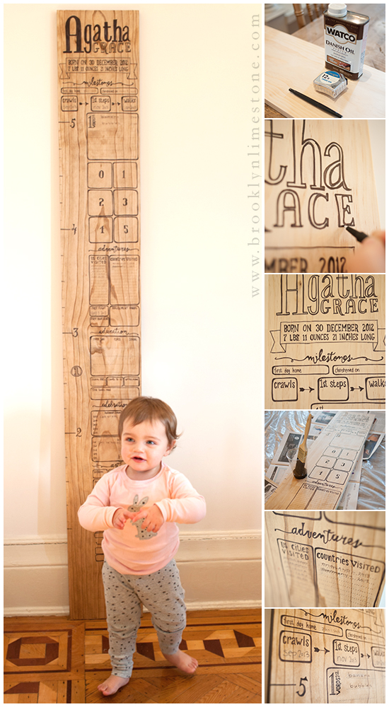 Wooden Baby Growth Milestone Chart Brooklyn Limestone
