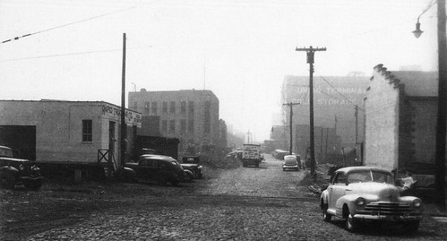 Industrial buildings on Provost Street by the Holland Tunnel entrance in Jersey City. 1949