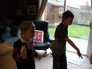 Noah and Alex playing WII 2