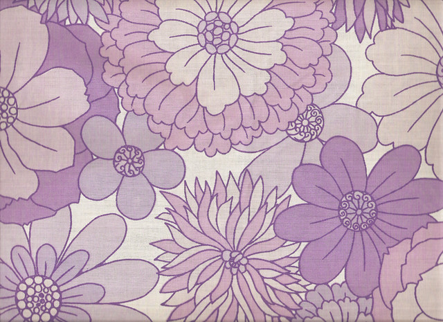 Purple Flowers Vintage Textile