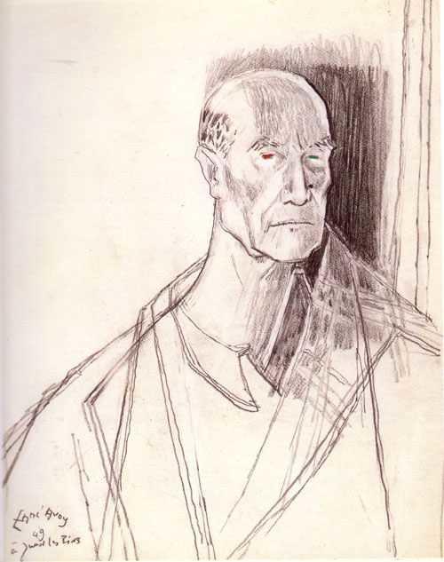 André Gide, de Mac-Avoy, dessin préparatoire, 1949