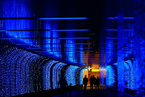 A blue tunnel