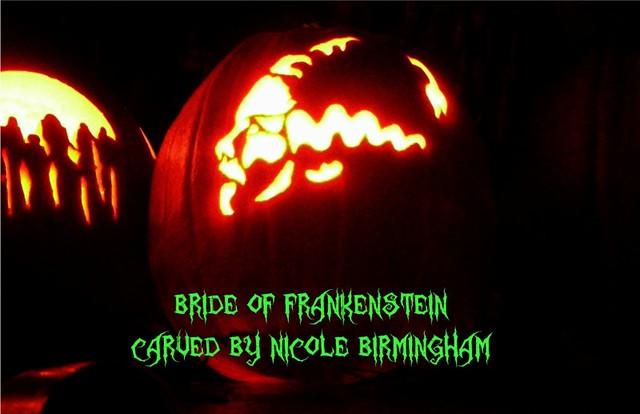 Bride Of Frankenstein Pumpkin Stencil