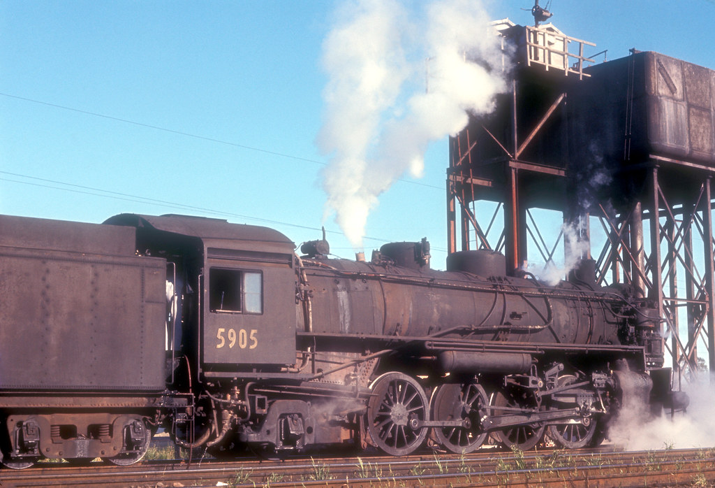 New South Wales Government Railways Baldwin 2-8-2 No 5905 + 6027 (out of sight) on 631 down goods train in the refuge loop between Tuggerah and Wyong, N.S.W. Australia by John Ward