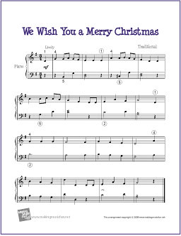 We wish you a merry christmas free sheet music for easy piano