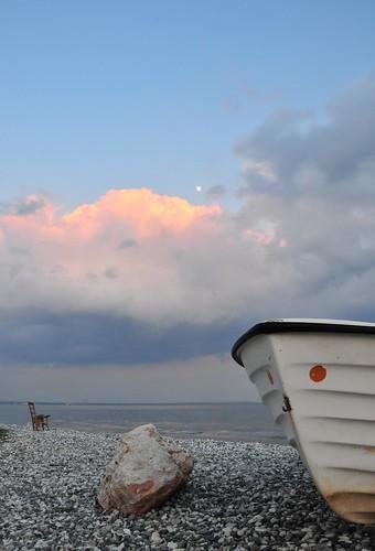pink blue sunset red sea white water rock clouds boat chair waterfront purple wave pebbles fullmoon moonrise fishingboat twop orangeyellow d300 warmcolor blueribbonwinner dekelia nikond300 cloudslightningstorms cyprusseascape varnavasthearchitect virgiliocompany