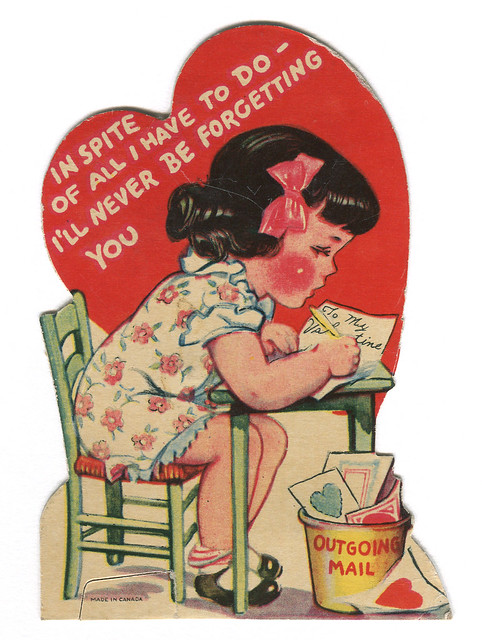 vintage valentine: outgoing mail