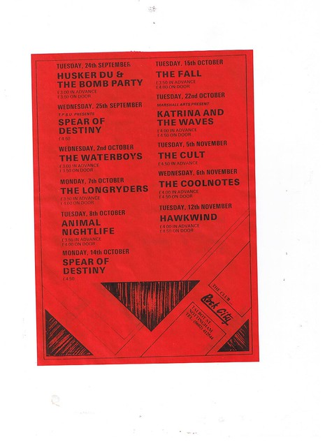 The fall, Cult, Husker Du, Spear of Destiny, Hawkwind at Rock City, Nottingham UK
