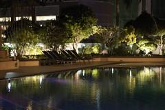 sunlight(0.0), swimming pool(1.0), landscape lighting(1.0), evening(1.0), light(1.0), estate(1.0), reflecting pool(1.0), reflection(1.0), resort(1.0), night(1.0), lighting(1.0),