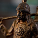 Small photo of Upper part of a medieval knight bronze statuette