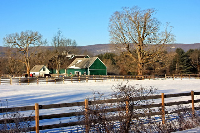 Green barn in Greenfield NY