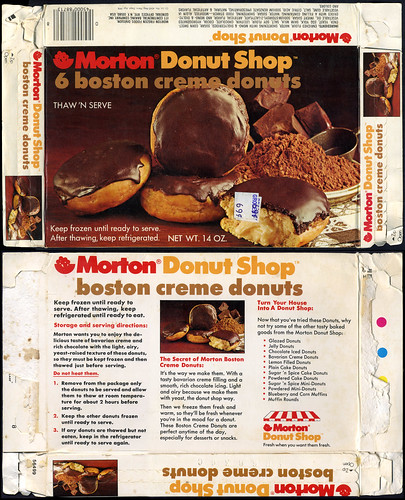Morton Donut Shop - 6 Boston Creme Donuts - package box - 1970's