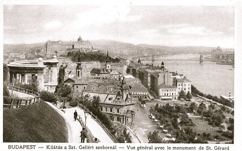 Old postcards of Budapest – View with the monument for St. Gerard