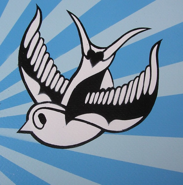 Redub of a Swallow stencil piece I did Just over A3 size