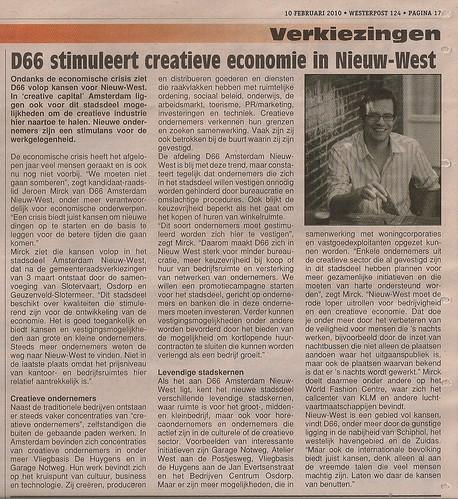 D66 stimuleert creatieve economie